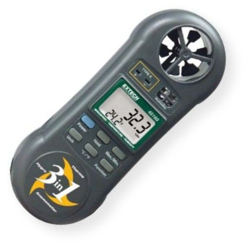 Extech 45160 Pocket Hygro-Thermometer-Anemometer, Ergonomic pocket size housing with large dual LCD simultaneous display of Temperature and Air Velocity or Relative Humidity, Data Hold to freeze the displayed value, Records Min/Max readings, UPC 793950451601 (45-160 451-60)