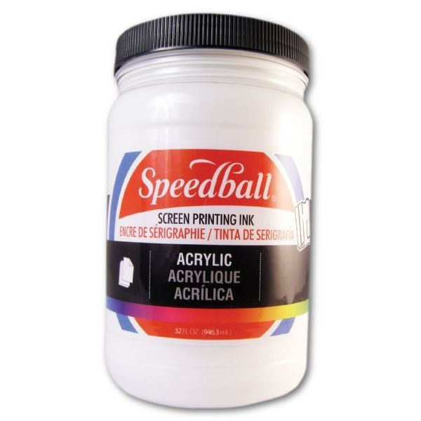 Speedball 4640 Acrylic Screen Printing Ink White 32 oz; Brilliant colors for use on paper, wood, and cardboard; Cleans up easily with water; Non-flammable, contains no solvents; AP non-toxic, conforms to ASTM D-4236; Can be screen printed or painted on with a brush; Archival qualities; 32 oz; White color; Dimensions 3.62