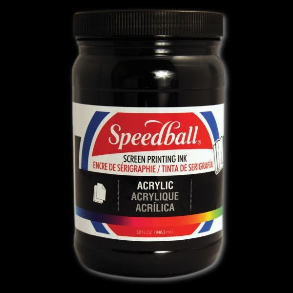 Speedball 4657 Acrylic Screen Printing Ink Black 32oz; Brilliant colors for use on paper, wood, and cardboard; Cleans up easily with water; Non-flammable, contains no solvents; AP non-toxic, conforms to ASTM D-4236; Can be screen printed or painted on with a brush; Archival qualities; 32 oz; Black color; Dimensions 3.62