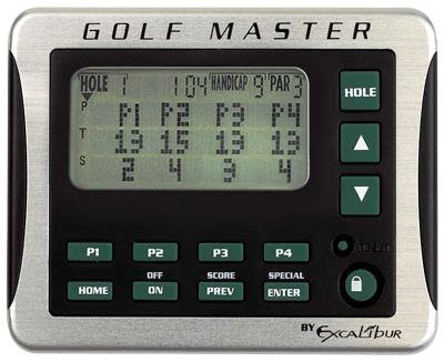 Excalibur 468 Golf Master, Electronic Score Keeper and golfers Aid, At the touch of a button, scroll through a complete golf rules e-book with a built-in reader, Includes the rules for seven popular betting games, Save the details of four of your favorite courses, Slim, rugged, and compact (Excalibur468 468)