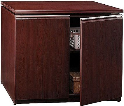 Bush 500 205 9000 Milano 36 Inch Storage Cabinet, Harvest Cherry Finish,  Accepts The Bookcase Hutch, Sturdy Extruded Aluminum Door Pulls, 1  Adjustable Shelf ...