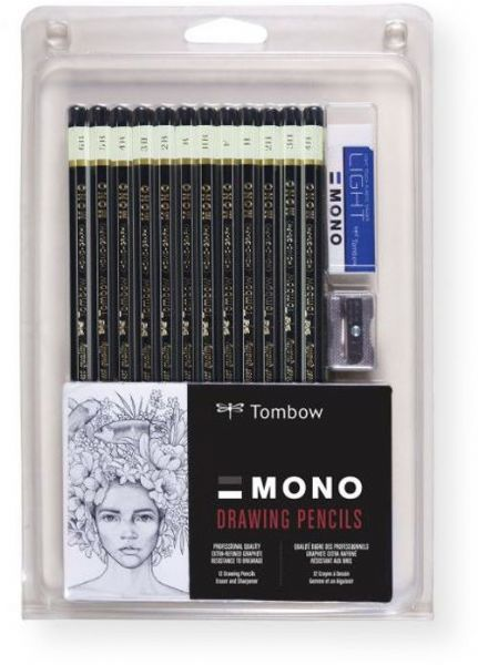 Tombow 51523 Mono 12 Piece Professional Drawing Pencil Set; Professional quality for drawing and drafting applications; Extra refined, high density graphite for point strength and consistent, smear resistant lines; Drawing stay crisp and clean; Highest quality materials with a classic black lacquer finish; UPC 085014515238 (51523 MONO-51523 PENCIL-51523 DRAWING-51523 TOMBOW51523 TOMBOW-51523)