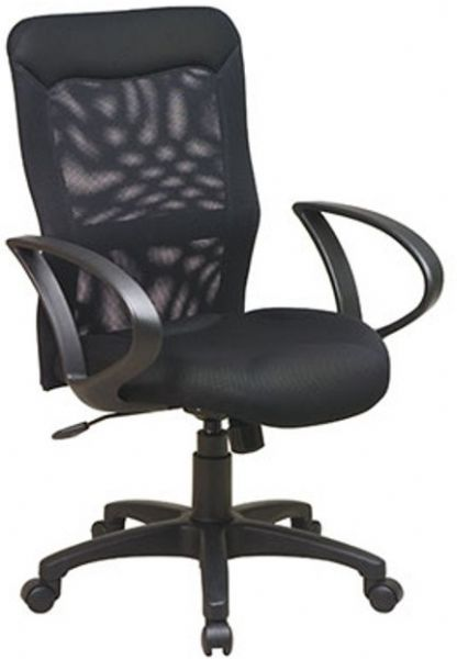 Office Star53603 Black Screen Back Mesh Seat Chair With Loop Arms