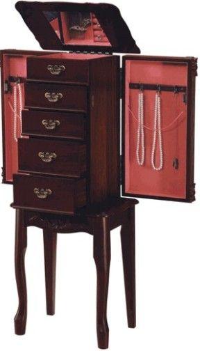 Linon 55000CHY01KD Jewelry Armoire 66007 Cherry Finish Birch
