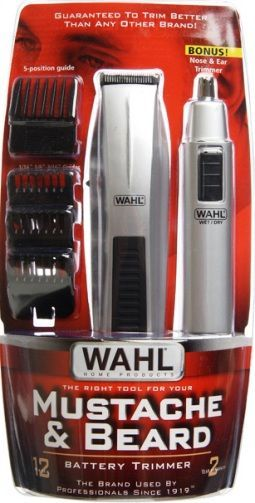 wahl 5537 418 mustache beard trimmer bonus nose ear trimmer 12 piece beard and mustache. Black Bedroom Furniture Sets. Home Design Ideas