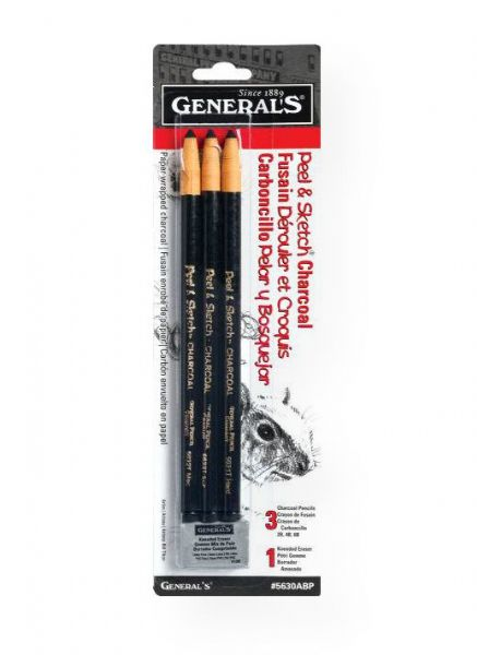 General's 5630A-BP Peel & Sketch Paper Wrapped Charcoal Pencil Set; Just pull the string and unwrap paper to reveal more black charcoal; No need to sharpen;  Set includes hard, medium, soft, 1 kneaded eraser; Contents subject to change; Shipping Weight 0.13 lb; Shipping Dimensions 9.75 x 3.00 x 0.12 in; UPC 044974563031 (GENERALS5630ABP GENERALS-5630ABP PEEL-SKETCH-5630A-BP GENERALS/5630ABP 5630ABP ARTWORK CRAFTS)