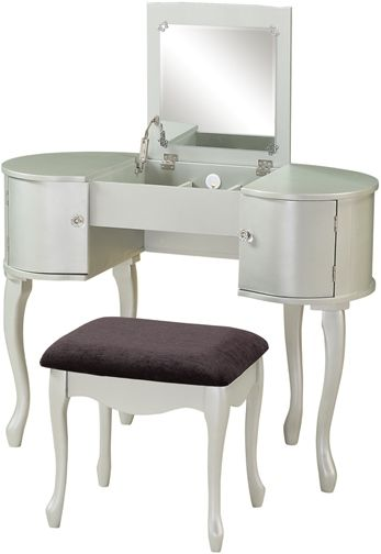 Linon 580425sil01u Paloma Vanity Set Glamorous In Its Design Has A Unique Rounded Style Flip Top Lifts To Reveal Large Mirror And Storage Space