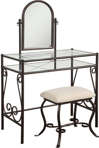 Charmant Linon 58950MTL 01 KD U Clarisse Metal Vanity Set; Mixes Traditional Style  With Transitional Design; A Classic Accent, The Vanity Set Has A Decorative  Metal ...