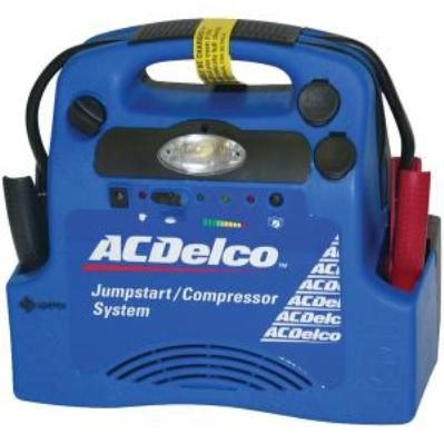 ACDelco 59-255U Heavy-Duty Jump-Start/Air Compressor System, 260 PSI air compressor, Heavy-duty jumper cables, Booster cable safety switch, 18 amp hour-sealed, lead battery, Battery utilizes advanced AGM & thin plate technology, 12V portable power outlet, Built-in work light, Operates up to 30 hours on internal battery (59255U 592-55U 5925-5U 59-255USPX59255U)