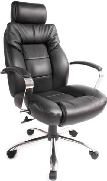 Comfort Products 60-5800T Commodore Oversize Leather Executive Chair, Smooth leather upholstery, Supports up to 400 lbs, Heavy duty mechanism, Durable casters, Fixed arms and headrest, Sturdy metal base, Adjustable seat height, tilt, tension, lock, swivel, 20-1/2