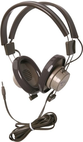 Califone 610-44S Model 610 Binaural Dynamic Headphones, Gray/Beige, Non-replaceable 5' straight cord with 3.5mm stereo plug, Impedance 64 Ohms, Response Bandwidth 50-12000 Hz, Sensitivity 65 dB, Steel-reinforced dual headstraps are fully adjustable to comfortably fit younger students and adults, Rugged headstraps with recessed wiring for safety (61044S 610 44S)