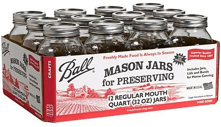 Ball 62000 Regular Mouth 32oz. Mason Canning Jar with Lids, Case of 12, Refrigerate up to 3 weeks, Store up to 1 year, 12 Ball Regular Mouth Glass Preserving Jars, 12 Ball Regular Mouth Lids with Bands, Step-by-Step instructions on bottom of package, Choose from Bread & Butter Pickle Mix or Kosher Dill Pickle Mix (620-00 62-000 Jarden Home Brands)