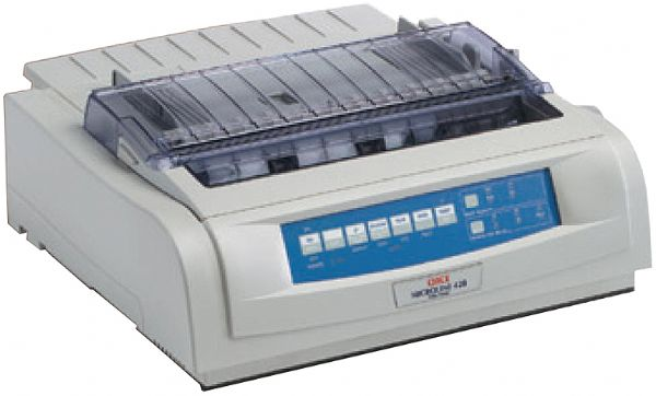 Okidata 62418701 Model ML420 Dot Matrix Printer, Print speeds up to 570 cps, Number of Pins 9, Memory Buffer Size 128K, Monthly Workload pages 24,000; Resident Scalable Fonts Yes; Resident Bar Code Fonts Yes 8 types; Emulations Epson FX, IBM ProPrinter, UPC 051851440316 (ML-420 ML 420 6241 8701)