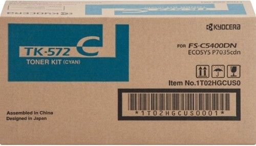 Kyocera 1T02HGCUS0 model TK-572C Original Toner Cartridge, Cyan Print Color, Laser Print Technology, 12000 Pages Typical Print Yield, For use with Kyocera Mita FSC5400DN Printer, UPC 632983013274 (1T02HGCUS0 1T02-HGCUS0 1T02 HGCUS0 TK572C TK-572C TK 572C)