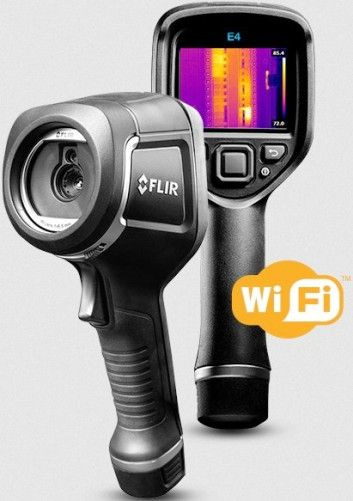 FLIR 63906-0604 Model E4 Infrared Thermal Camera with MSX and Wi-Fi, 80x60 IR Resolution/9Hz, f-number 1.5, Field of view (FOV) 45° x 34°, Focus Free, Automatic Adjust/Lock Image, 0.5 m (1.6 ft.) Minimum Focus Distance, 10.3 mrad Spatial resolution (IFOV), 7.5–13 µm Spectral Range, 640x480 Digital Camera Resolution, UPC 845188014117 (639060604 63906 0604 E-4)