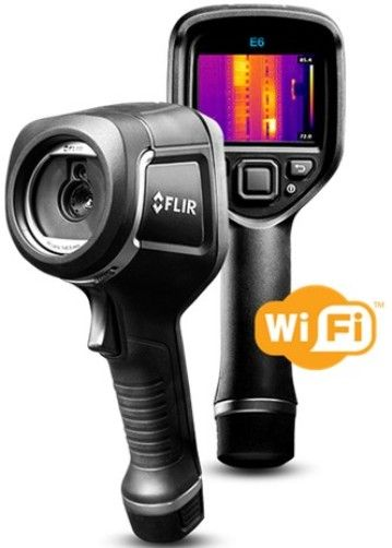 FLIR 63907-0804-NIST Model E6XT-NIST Infrared Camera with Extended Temperature Range, MSX, WiFi and Calibration to NIST, 240x180 IR Resolution/9Hz, f-number 1.5, Field of view (FOV) 45° x 34°, Automatic Adjust/Lock Image, 0.5 m (1.6 ft.) Minimum Focus Distance, 3.4 mrad Spatial resolution (IFOV), 7.5–13 µm Spectral Range, 640x480 Digital Camera Resolution (639070804NIST 639070804-NIST 63907-0804NIST E6XTNIST E6XT)
