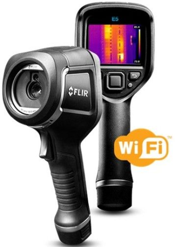 FLIR 63909-1004 Model E5-XT Infrared Camera with Extended Temperature Range, MSX and WiFi, 160x120 IR Resolution/9Hz, f-number 1.5, Field of view (FOV) 45° x 34°, Automatic Adjust/Lock Image, 0.5 m (1.6 ft.) Minimum Focus Distance, 5.2 mrad Spatial resolution (IFOV), 7.5–13 µm Spectral Range, 640x480 Digital Camera Resolution, UPC 845188018788 (639091004 63909 1004 E5XT E5 XT)