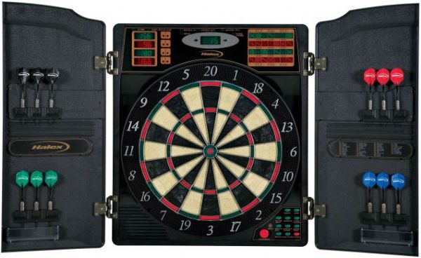 Halex 64469 Barrington With Molded Cabinet, 16 Player Electronic Dartboard;  Displays 5 LED Scoring Displays with 4 ...