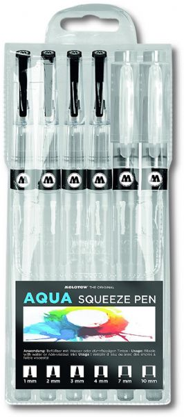 MOLOTOW 727.111 Aqua Squeeze Pen 6 Set; Each pen holds 20ml of fluid ink or water; Simply squeeze the body of the pen to easily regulate the amount of liquid you are applying to your surface; Pen tips measure 1mm, 2mm, 3mm and 4mm, 7mm and 10m; Similar to that of actual paint brushes; Refillable pen is an economical and sustainable solution for any artist; These application tools are easy to fill with water, fluid watercolors, or inks; EAN 4250397627892 (MOLOTOW727111 MOLOTOW 727111 727 111 727-