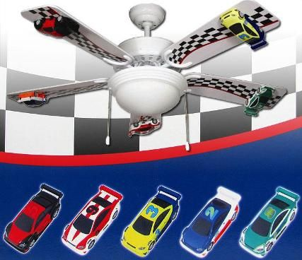 Trademark 75 2200 indy race car ceiling fan with light fixture show trademark 75 2200 indy race car ceiling fan with light fixture show off your love for racing with this cool race car ceiling fan decorative 42 inch aloadofball Image collections