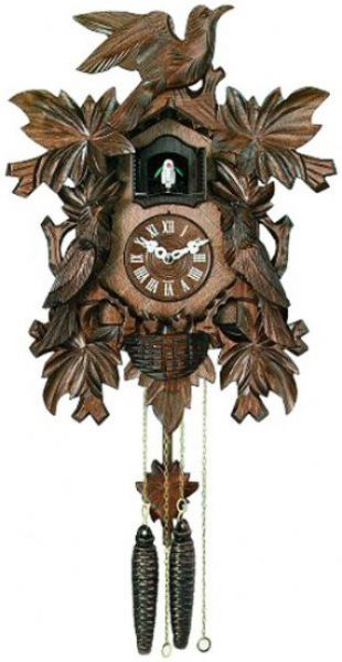 River city cuckoo clocks 813 16q 16 seven leaves three birds with nest quartz movement - Cuckoo bird clock sound ...