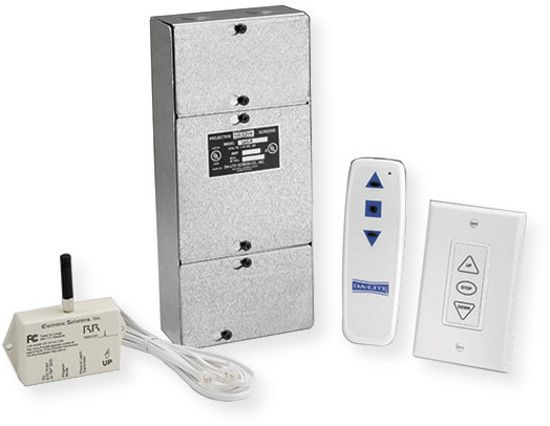 Da-Lite 82433 Radio Frequency Wireless Remote; White; Single Motor LVC; Can be used alone with the 3-button wall switch and remote; Provides dry contact relays for third party controllers; Includes batteries; 120 Volts; UPC 717068189607 (82433 82433 DALITE 82433-RADIO DA-LITE-82433 RADIO82433 DALITE82433)