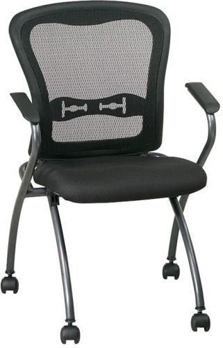 Office Star 84440 Pro Line II Deluxe Folding Chair, Set Of 2 Chairs, Folding  Series, Breathable ProGrid Back With Built In Lumbar Support, Black Fabric  ...