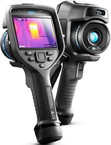 FLIR 84502-0201 Model E53-24 Advanced Thermal Imaging Camera with MSX and 24° Lens, 240x180 IR Resolution/30Hz, 5 MP Digital Camera, 1-4x Continuous Digital Zoom, Field of view (FOV) 24° x 18°, Manual Focus, Spectral Range 7.5 – 14.0 µm, Laser Pointer, Automatic GPS Image Tagging, 4