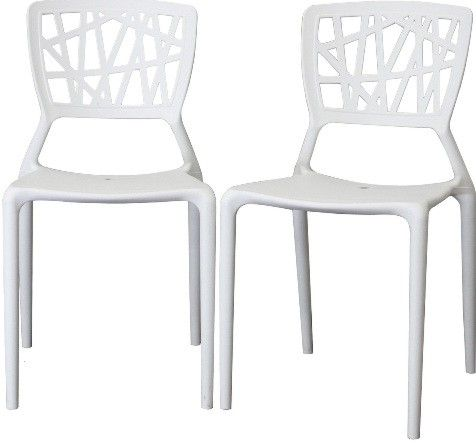 Whole Interiors Dc 452 B White Oketo Plastic Modern Dining Chair Abstract Cut Out Design On Backrest Makes For A Great Conversation Piece