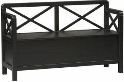 Linon 86101C124 A KD U Anna Storage Bench, Antique Black Finish, Double X  Back Provides Additional Support And Appeal, Conveniently Store Shoes,  Gloves, ...