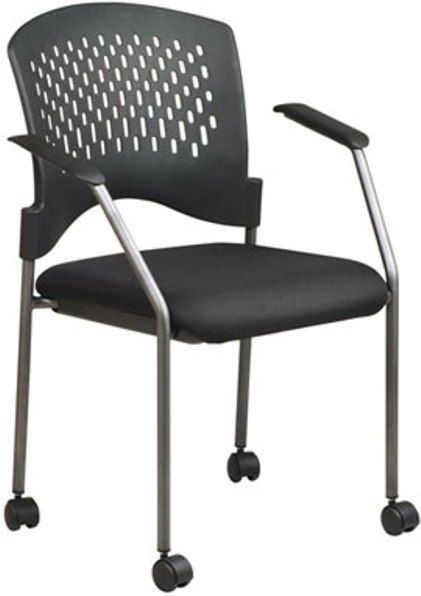 Office Star 8640 Titanium Finish Rolling Visitor 39 S Chair With Casters Ar