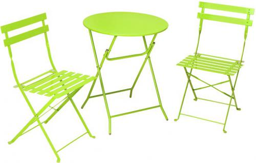 Cosco 87620GRN1 3 Piece, Folding Bistro Style Patio Table And Chairs,  Bright Green; Includes A Table And Two Chairs; Durable, Powder Coated Steel  Frame; ...