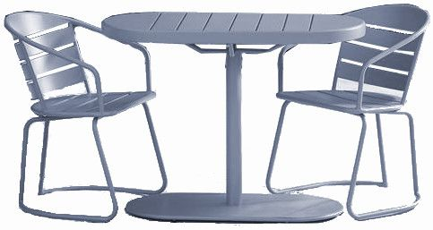 Cosco 87800GMGE Gray Metro Retro All Steel Nesting Bistro Set; One box shipment; Outdoor protected material; Ideal for patio, porch, poolside or garden; Small space compatible; Minimal maintenance required; Dimensions Chair 20.470