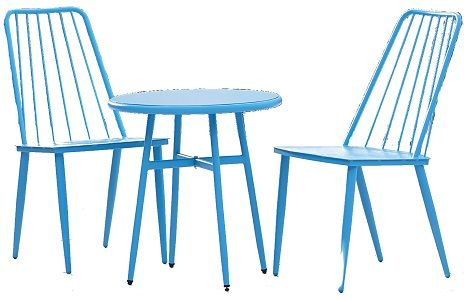Cosco 87810BTQE Teal Three Piece Cottage Bistro Steel Patio Furniture Set; One box shipment; Outdoor protected material; Some assembly required with all hardware and tools included; Classic metal table and chairs; Ideal for patio, porch, poolside or garden; Small space compatible; Minimal maintenance required; UPC 044681870361 (87810 BTQE 87810-BTQE)