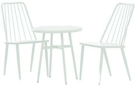 Cosco 87810WHTE White Three Piece Cottage Bistro Steel Patio Furniture Set; One box shipment; Outdoor protected material; Some assembly required with all hardware and tools included; Classic metal table and chairs; Ideal for patio, porch, poolside or garden (87810 WHTE  87810-WHTE)
