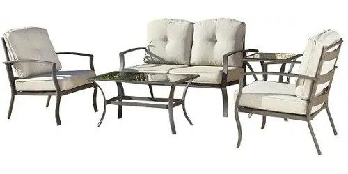 Cosco 88530DBTTE Dark Brown Outdoor 5 Piece Serene Ridge Aluminum Patio  Furniture Conversation Set With Cushions And Cofee Table; Ideal For Patio,  Porch, ...