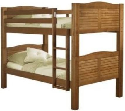 Linon 90066NN50 A KD Shutter Bunk Bed, Pecan Finish, Constructed Of Solid  Brazilian Pine, Slatted Shutter Design On Headboards And Footboards,  Enclosed Top ...