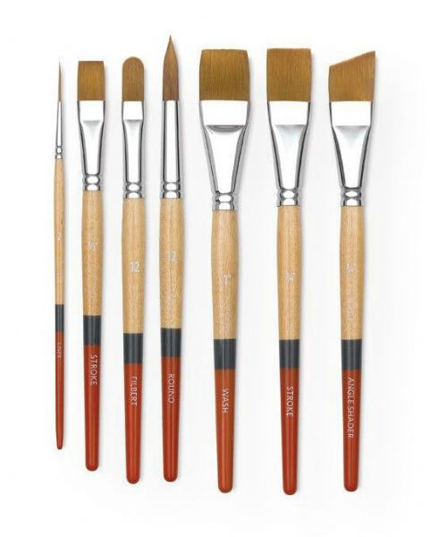 Princeton 9650AS-075 Snap! Golden Taklon Short Handle Brush Watercolor and Acrylic Brush Angle Shader .75; Holds lots of color, points well, and has good snap with attractive, bold tri-color handle; Good quality, economically priced; Shipping Weight 0.04 lb; Shipping Dimensions 7.5 x 0.5 x 0.5 in; UPC 757063965134 (PRINCETON9650AS075 PRINCETON-9650AS075 SNAP!-9650AS-075 PRINCETON/9650AS075 9650AS075 ARTWORK PAINTING)