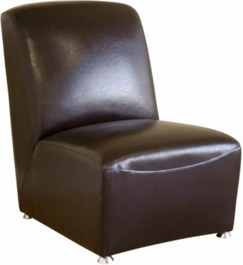 Leather Armless Accent Chair in Dark Brown, Leather armless club chair
