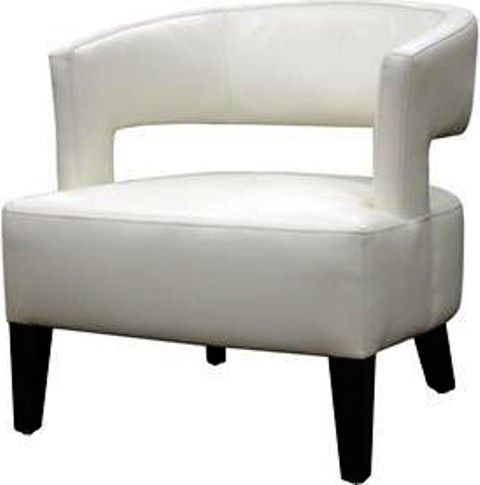 Wholesale Interiors A 733 1843 Lemoray Off White Leather Modern Club Chair, Contemporary  Accent Chair, Off White Bonded Leather, High Density Polyurethane ...