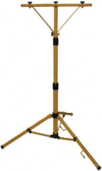 Aervoe 8715 Work Light Metal Stand, Yellow Color; The Metal Stand is made from durable aluminum with a collapsible tripod base and telescoping height adjustment from 2 to 5 feet; The mounting bracket will accommodate up to 2 Work Lights (8711 or 8712); All connectors and adjustments can be made without tools; May be used construction, home improvement, security, and power outages; Dimensions 5.75