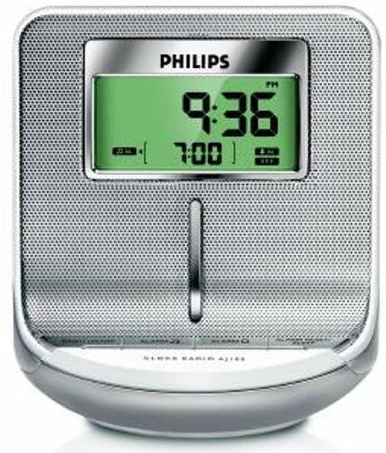 philips aj100 37 sleek design digital am fm clock radio output power rms 80mw 24 hour alarm. Black Bedroom Furniture Sets. Home Design Ideas
