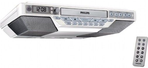Philips AJ6111/37 Kitchen Clock Radio, Plays CD, CD R And CD RW Discs,  Output Power (RMS) 2X2W, 20 Programmable Tracks, Digital Tuning With  Presets, ...