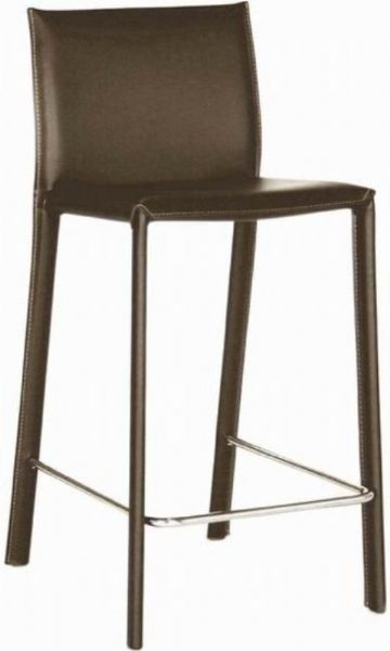 Wholesale Interiors ALC-1822A-65-BROWN Goneril Low-back Leather Counter Stool in Brown, Stool Back, Steel Chair Material, Leather Seat Material, 25