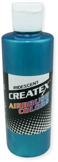 Createx 5504-02 Airbrush Paint 2oz Iridescent Turquoise, Made with light fast pigments and durable resins; Works on fabric, wood, leather, canvas, plastics, aluminum, metals, ceramics, poster board, brick, plaster, latex, glass, and more; Colors are water based; Non toxic; UPC 717893255041 (CREATEXALVIN CREATEX-ALVIN CREATEX5504-02 ALVIN5504-02 ALVINAIRBRUSHPAINT ALVIN-AIRBRUSHPAINT)