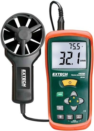 Extech AN100-NIST CFM/CMM Thermo-Anemometer with NIST Certificate, Simultaneous display of Air Flow or Air Velocity plus Ambient Temperature, Up to 8 easy to set Area dimensions (cm2) are stored in the meter's internal memory for the next power on (AN100NIST AN100 NIST AN-100 AN 100)