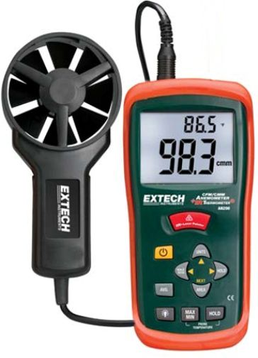 Extech AN200 CFM/CMM Thermo-Anemometer + IR Thermometer, Built-in non-contact IR Thermometer measures remote surface temperatures to 536°F (280°C) with 8:1 distance to spot ratio and Laser Pointer, Simultaneous display of Air Flow or Air Velocity plus Ambient Temperature, UPC 793950452004 (AN-200 AN 200)