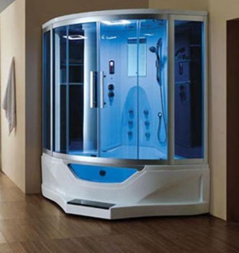 Ariel 702 Steam Shower With Jacuzzi Blue Glass Steam