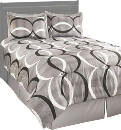 Ashley Q193004Q Primo Series Queen Top Of Bed Set; 4 Piece Comforter Set that Includes Comforter, 1 Bedskirt, and 2 Shams; Geometric Design in Gray, Black, and White; Cotton; Machine Washable; Dimensions 92.00