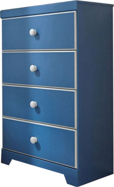 Ashley B045 44 Bronilly Series Four Drawer Chest Blue Replicated Blue Paint With White Trim And Accents Dimensions 29 49w X 15 35d X46 38h Weight 98